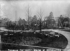 http://www.sepiatown.com/100001/Ruins-of-the-Kew-Gardens'-Tea-House-Richmond-United-Kingdom Ruins of Kew Gardens Tea Rooms destroyed by militant suffragettes 1913 #InternationalWomensDay