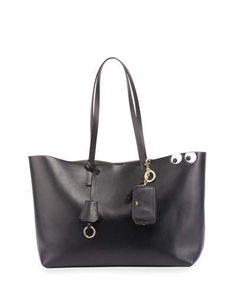 ANYA HINDMARCH Ebury Eyes Leather Shopper Bag, Black. #anyahindmarch #bags #shoulder bags #leather #pouch #accessories #