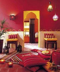 Moroccan decor-love the colors