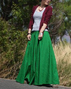 Green Skirts  fashon skirts Long Skirts Linen by fashiondress6, $58.00