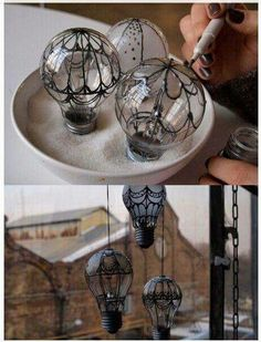 Lightbulb hot air  balloons