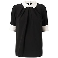 Buy Almari Contrast Collar Top, Black/White from our Women's Shirts & Tops range at John Lewis & Partners. Collar Top, Collar And Cuff, Black Tops, Black And White, Contrast Collar, Tailored Trousers, Feminine, Skirts, Mens Tops