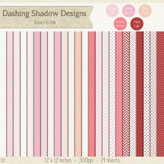 Digital Scrapbook Paper - Basics In Pink and Red #scrapbooking #scrapbook #paper #digiscrap #supplies #page #basics #dots #stripes #chevron #hearts #pink #red
