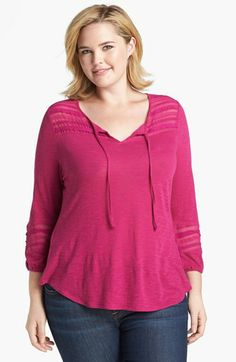 Lucky Brand Lace & Mesh Inset Jersey Top (Plus Size) available at #Nordstrom