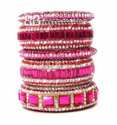 Pink Stacked Bangle Collection