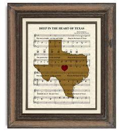 Texas, Map, Deep In The Heart of Texas, Sheet Music, Art, Print