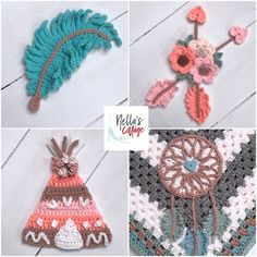 Ravelry: Boho Dreams Collection pattern by Jen Mitchell - Nella's Cottage Crochet Borders, Crochet Blanket Patterns, Baby Blanket Crochet, Crochet Baby, Crochet Appliques, Crochet Applique Patterns Free, Crochet Feather, Crochet Deer, Crochet Dreamcatcher Pattern Free