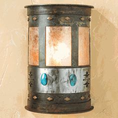 Turquoise Stone Half Round Sconce - Small