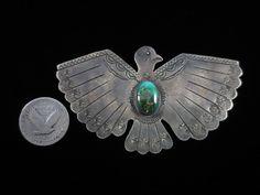 Vintage Navajo Silver & Turquoise Thunderbird Manta Pin