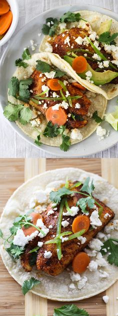 Spicy Fish Tacos on foodiecrush.com Easy to make and healthier than fried