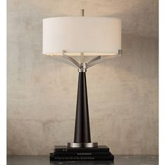 tremont espresso and brushed steel iron table lamp 8n426 lamps plus