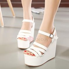 TideBuy - TideBuy PU Line-Style Buckle Strappy Womens Wedge Sandals - AdoreWe.com