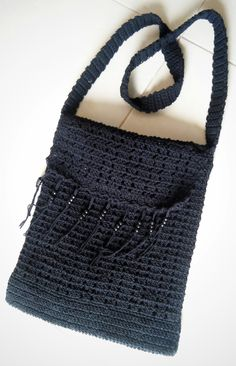 Handmade crochet large shoulder bag w/ beaded trim by TheGreenHouse222 on Etsy