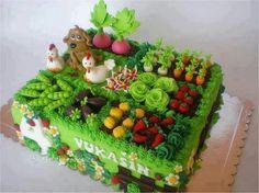 The Farm cake Pretty Cakes, Cute Cakes, Beautiful Cakes, Amazing Cakes, Crazy Cakes, Fancy Cakes, Fondant Cakes, Cupcake Cakes, Dog Cakes