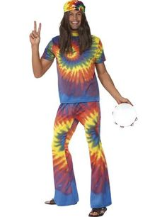 60'S GROOVY TIE DYE COSTUME - A fantastic fancy dress costume for any 1960's themed party. We love the groovy tie-dye print!