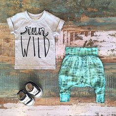 BABY • Sapling Child organic 'run wild' tee, Nacido harem pants & Converse Baby Chucks. All styles restocked & available at Tiny Style in Noosa & online •  www.tinystyle.com.au