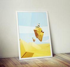 Floating Desert City Printable Art  Minimalist Poster