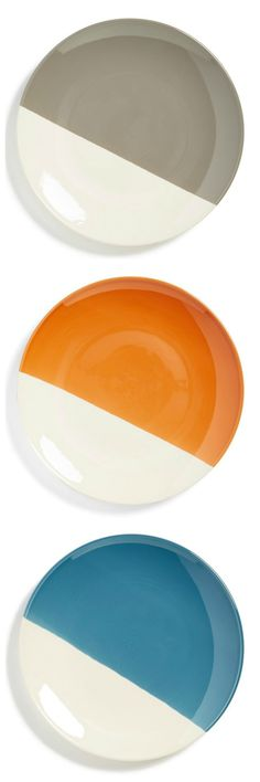 Trending in the dining room | Half-dipped dessert plates.