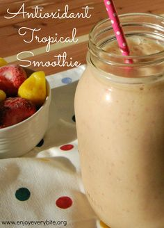 Antioxidant Tropical Smoothie provides over 100% of your vitamin C and 15 grams of protein.