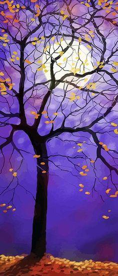 October Night - digital painting by ©Sharon Marcella Marston (via…