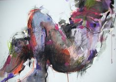 """Explosion of colour from artist Fotini Hamidieli; Charcoal, 2012, Drawing """"the body"""""""