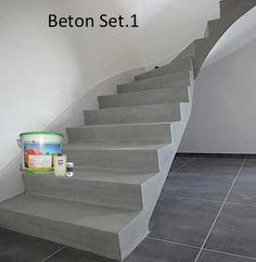Beton ciré Treppe BETOSTUC / SET Beton cire` auf Kalk Zement basis für Böden und Wände Unser Beton Ciré wird glatt und ohne Poren, sodass der Schmutz und Staub nicht ansetzen kann.