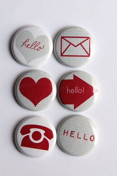 Hello Flair buttons by kidsmom1999 on Etsy, $6.00