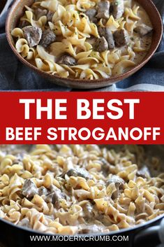 This is the best beef stroganoff!  It is full of flavor, creamy and has super tender beef.  Beef Stroganoff | Easy and Delicious Family Friendly Recipes | Arizona | Modern Crumb #dinner #beefrecipes #beefstroganoff #pasta #onepandinners