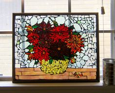 Stained Glass on Glass Mosaic  Nannys Mums by Barefootintheglass, $200.00