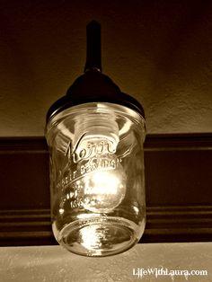 Take an old light fixture, add mason jars and create your own mason jar light fixture.