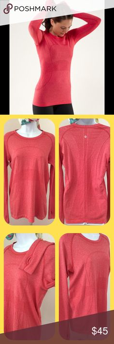 Lululemon Run Swiftly Long Sleeve Red color.  Size 10.  Thumbholes.  Only worn and washed (cold water, dried flat) a couple of times and decided this wasn't a good color for me.  Great used condition. lululemon athletica Tops