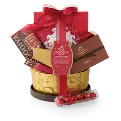 Holiday Cheer Gift Basket... A Godiva basket would make me entirely happy.