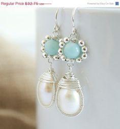 Pearl Dangle Earrings Wire Wrapped Earrings Bezel by Jewels2Luv, $29.48