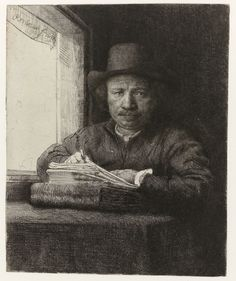 Autoportrait ou Rembrant gravant à sa fenêtre (1648, Rijksmuseum, Amsterdam) de Rembrandt van Rijn (1606-1669)