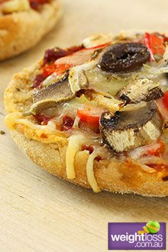 Vegetarian Pizza Muffins. #HealthyRecipes #DietRecipes #WeightLossRecipes weightloss.com.au