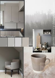 Paint shades: 6.'Seneca Rock' a warm deep taupe with plum tones by Kelly Hoppen 7.'Asian Spirit' a cool grey taupe from Kelly Hoppen 8.'Pavilion Grey'242 a warm Swedish grey from Farrow and Ball 9.'Dove Tale' 267 a warm mauve toned grey from Farrow and Ball - The Paper Mulberry: Interior Paint Shades - Soft Neutrals part 1