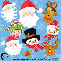 80%OFF Christmas faces clipart, Christmas Santa clipart, Christmas elf clipart, commercial use, snowman clipart, instant download, AMB-197 by AMBillustrations on Etsy https://www.etsy.com/uk/listing/209939792/80off-christmas-faces-clipart-christmas