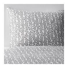 IKEA - KRÅKRIS, Housse de couette et taie(s), Une place, , Mélange polyester et coton limitant le rétrécissement et le froissage du tissu.