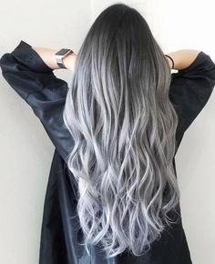 Silver Ombre Hair, Ombre Hair Color, Hair Color Balayage, Cool Hair Color, Hair Highlights, Gray Hair, Hair Colour, Brown Hair, Black To Grey Ombre Hair