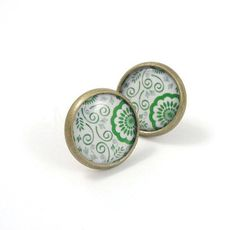 Green and White Floral Pattern Earring Studs Bronze by MistyAurora, $14.00