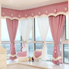 Cheap Buy Directly from China Suppliers: Specifications of Product  The price is panel sheer curtain or 1 panel Bed Sheet Curtains, Cute Curtains, Curtains And Draperies, Beautiful Curtains, Bay Window Bedroom, Bedroom Windows, Mandir Decoration, Color Block Curtains, Window Curtain Designs