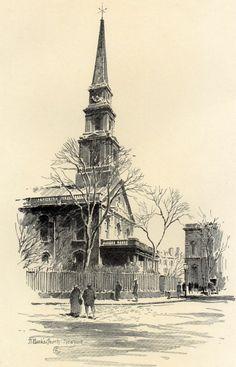 Fine Original 1922 Print of St. Mark's Church in New York by O.R. Eggers