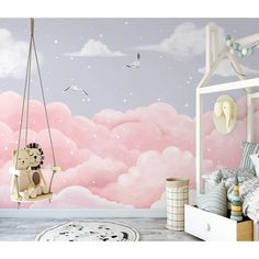 Clouds Nursery, Nursery Wall Murals, Star Nursery, Nursery Wallpaper, Kids Wallpaper, Custom Wallpaper, Girl Nursery, Mural Wall, Nursery Ideas
