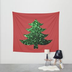 sold Christmas tree green sparkles Red Wall Tapestry by #PLdesign #ChristmasSparkles #SparklesGift