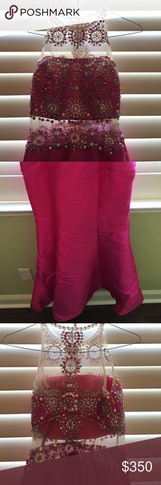 """Rachel Allan Trumpet Prom Dress Only worn once! Hemmed at the bottom to fit me (I'm 5""""1). Hot pink with pretty jewels. It looks like a 2 piece dress but it's not! Crinoline under the dress taken out so it was less puffy. Rachel Allan Dresses Prom"""