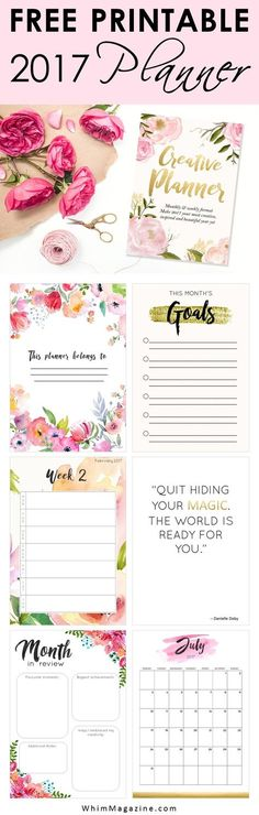Get your FREE 2017 planner now! Click to download your free printable planner from Whim Magazine