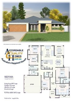 Affordable Quality Homes - Nirvana 245 (change bed 2 to study or HT) or bed 2 guest and office *** One Level House Plans, Bungalow House Plans, Dream House Plans, Small House Plans, House Floor Plans, Layouts Casa, House Layouts, Building Design, Building A House