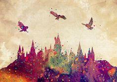Hogwarts Castle Digital Art - Hogwarts Castle Watercolor Art Print by Svetla Tancheva