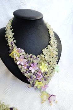 Jewelry Statement Necklace, Beaded Fluorite Necklace, Beadwoven Lilac Yellow Flowerers Necklace, Wedding Necklace, Bridal Necklace, Beadwork