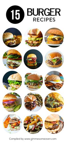 15 Burger Recipes -- a delicious collection of recipes from… Burger Recipes, Grilling Recipes, Beef Recipes, Cooking Recipes, Dishes Recipes, Dog Recipes, Big Burgers, Turkey Burgers, Veggie Burgers